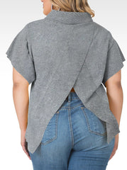 Standards & Practices - Cali Open Back Mock Neck Sweater-Huskey