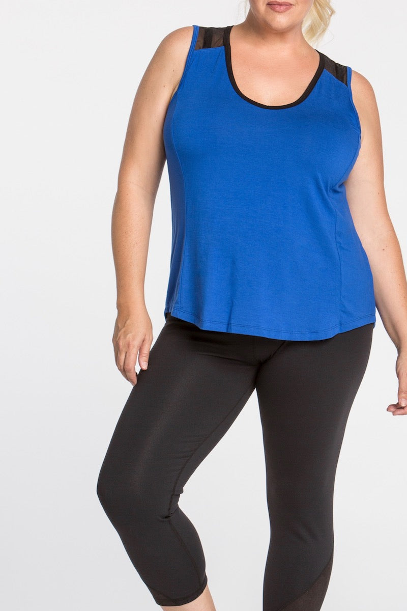 lola getts mesh back tank royal plus size coverstorynyc