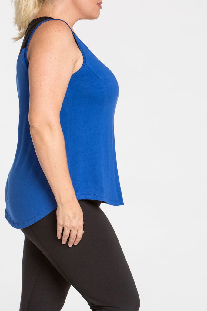 plus size lola getts mesh back tank royal