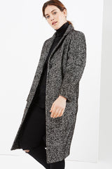 plus size coverstorynyc Elvi black tweed coat