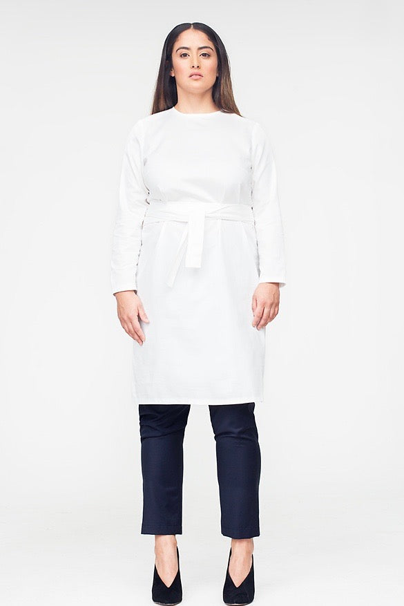 Van Der Nag Belted Shift Dress - White
