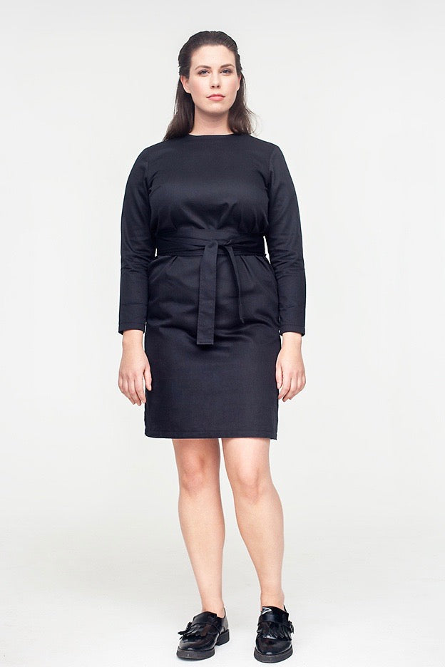 Van Der Nag Belted Shift Dress - Black
