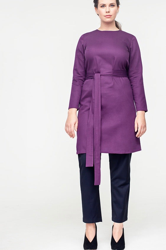 Van Der Nag Belted Shift Dress - Purple