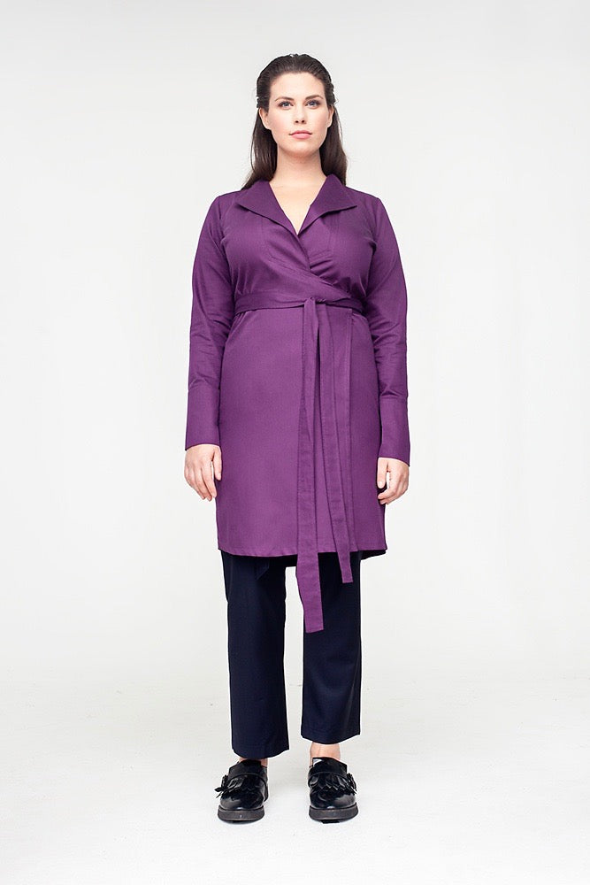Van Der Nag Wrap Shirt Dress - Purple
