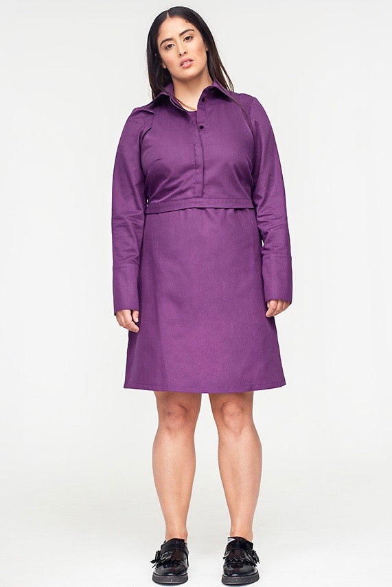 Van Der Nag Cropped Shirt Dress - Purple