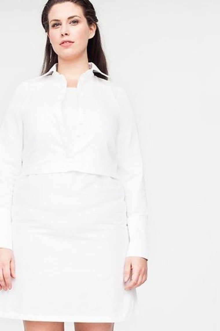 Van Der Nag Cropped Shirt Dress - White