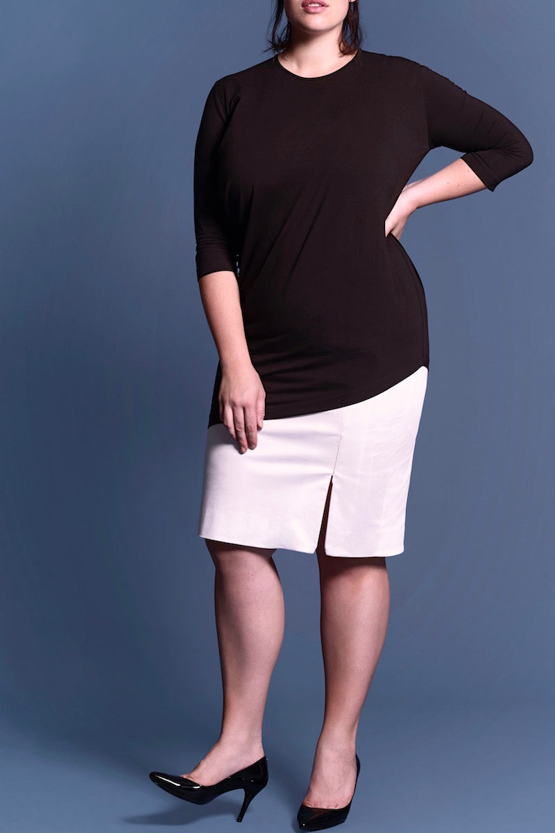 plus size universal standard genevette tee black coverstory