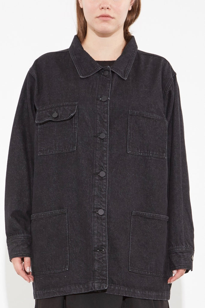 oak OVERSIZED CHORE JACKET ASH BLACK plus size