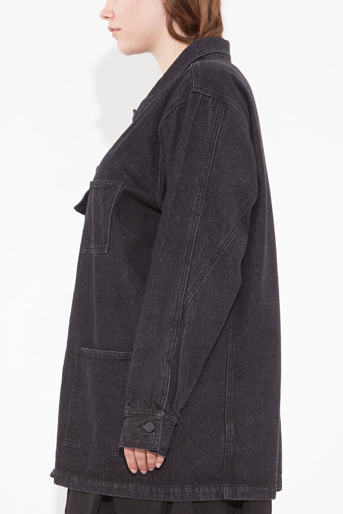 oak OVERSIZED CHORE JACKET ASH BLACK plus size CoverstoryNYC