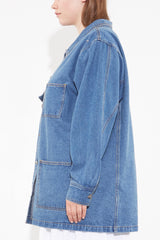 oak OVERSIZED CHORE JACKET washed blue plus size CoverstoryNYC