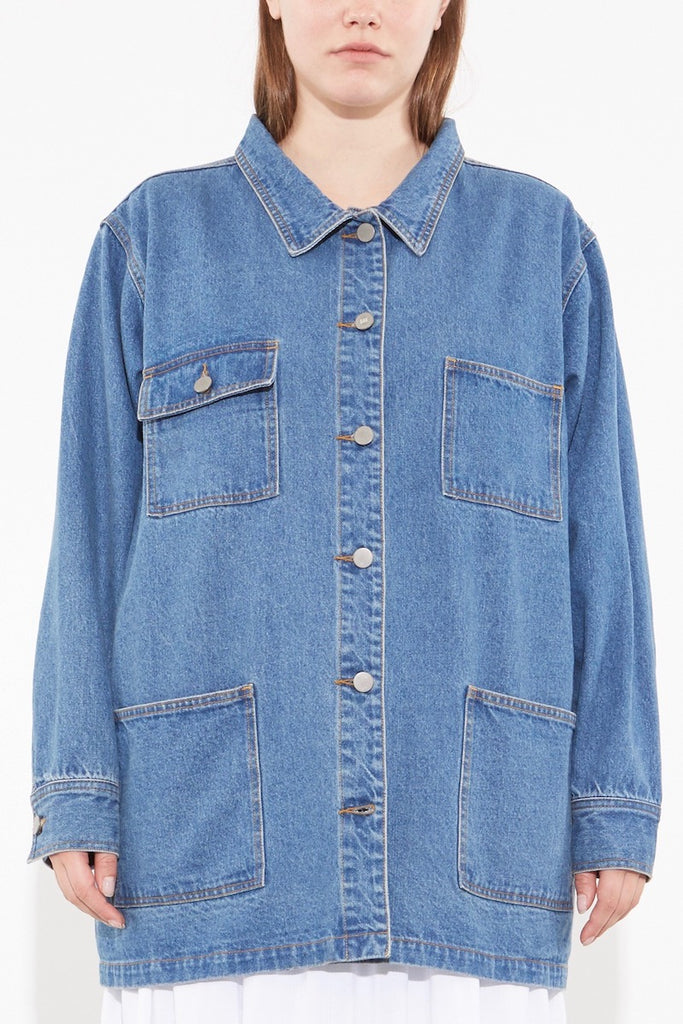 oak OVERSIZED CHORE JACKET washed blue plus size Coverstory
