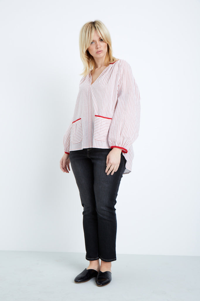 Shegul Red White Striped Cotton Blouse