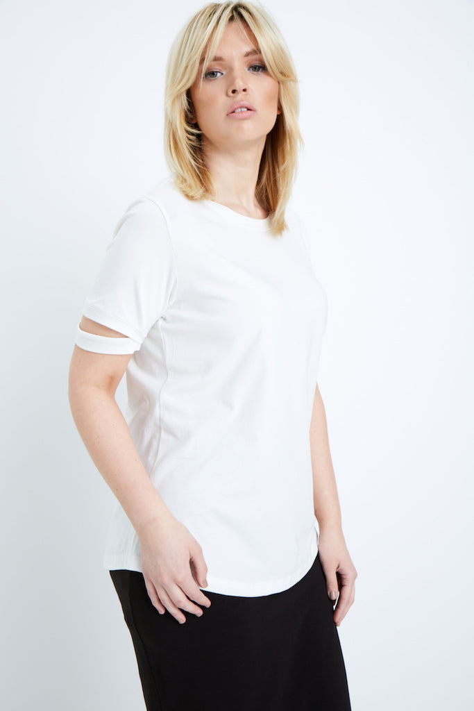 Universal Standard Cutaway Sleeve Tee white plus size coverstory