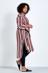 elvi stripe shirtdress coverstory plus size