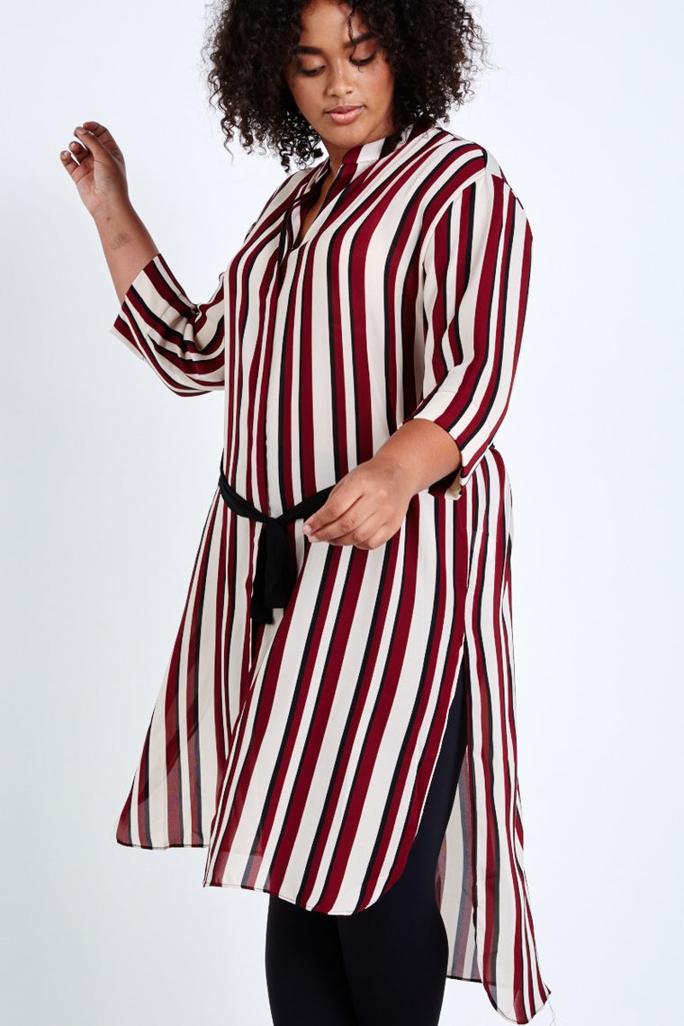 Elvi Stripe Shirt Dress