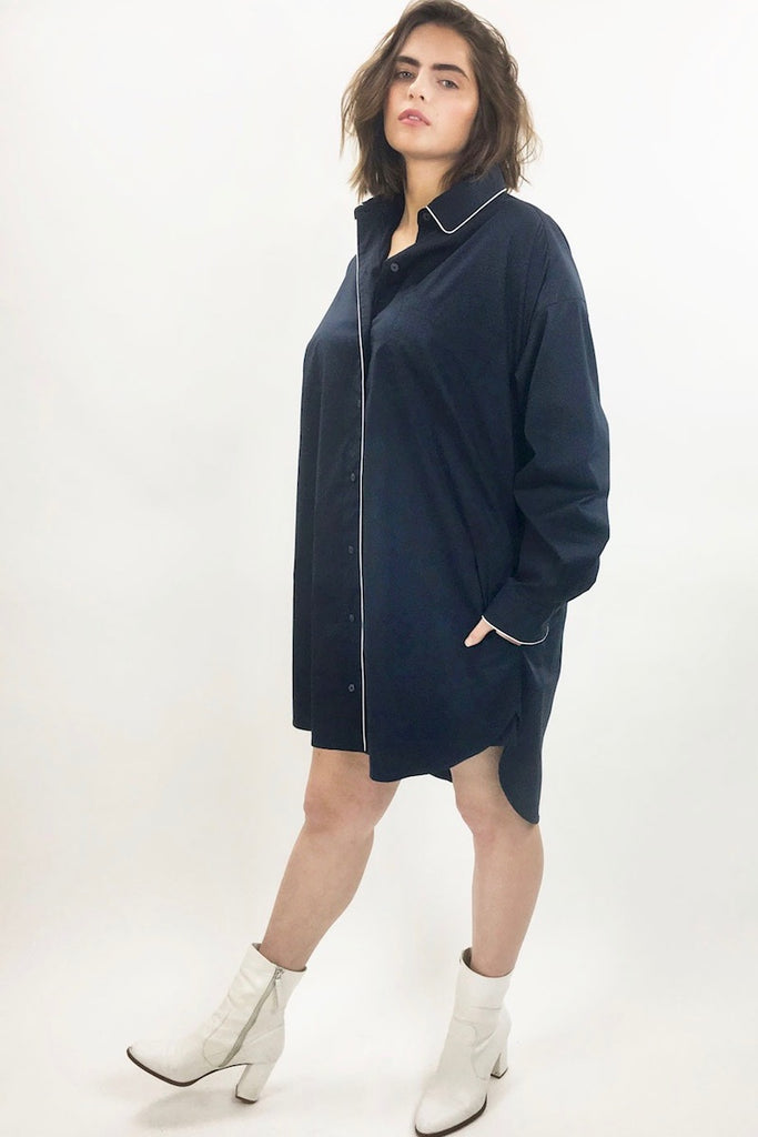 See Rose Go Essential Tunic Shirt - Midnight Navy
