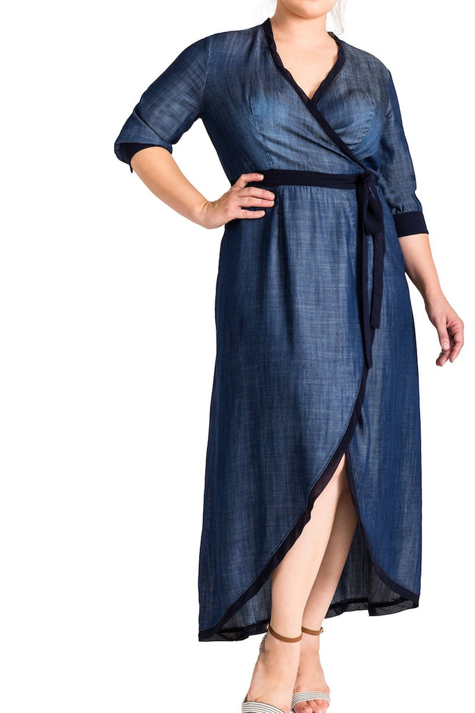 Standard & practices elle denim maxi dress plus size