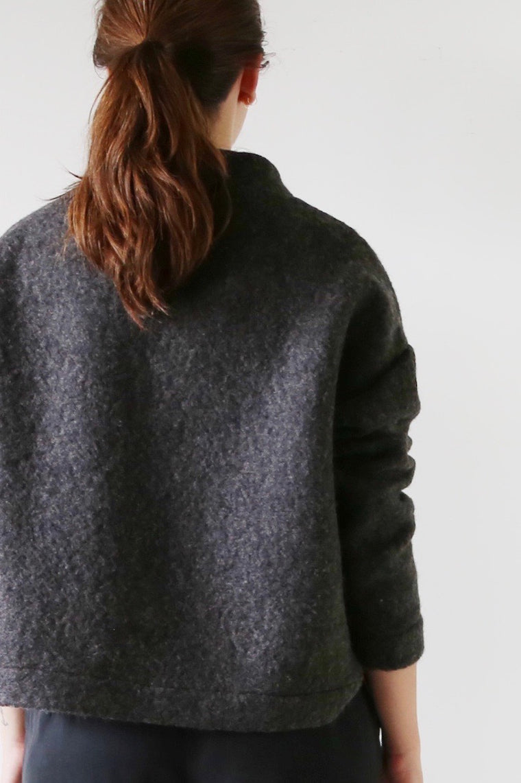 Hackwith Design House - Mock Neck Sweater - Charcoal