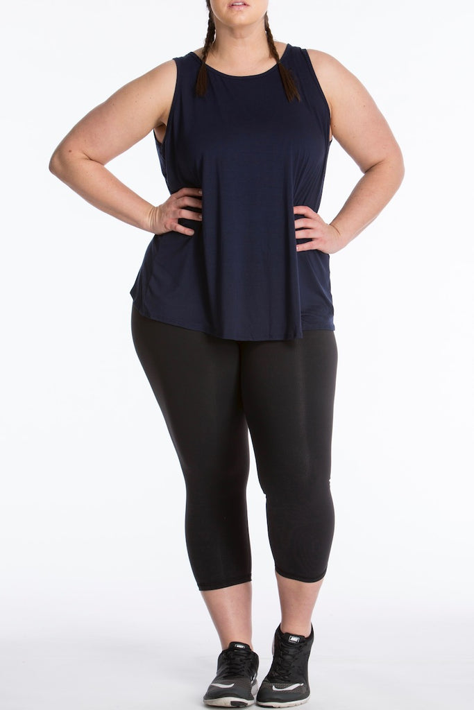 lola getts tulip back tank navy plus size