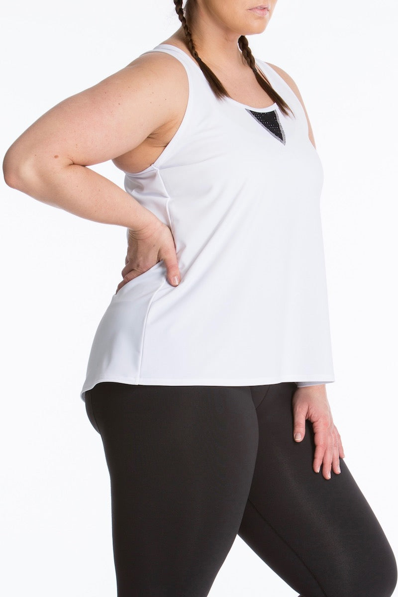 Lola Getts Easy Tank white black plus size activewear