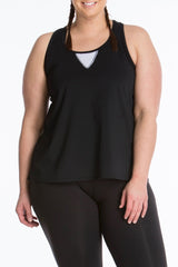 Lola Getts Easy Tank plus size activewear black white