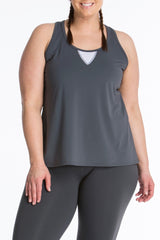 Lola Getts Easy Tank plus size activewear charcoal white
