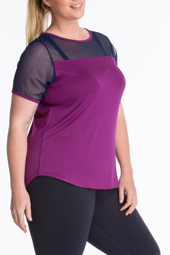 Lola getts short sleeves mesh trim tee plus size activewear plum navy coverstory
