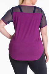 Lola getts short sleeves mesh trim tee plus size activewear plum navy