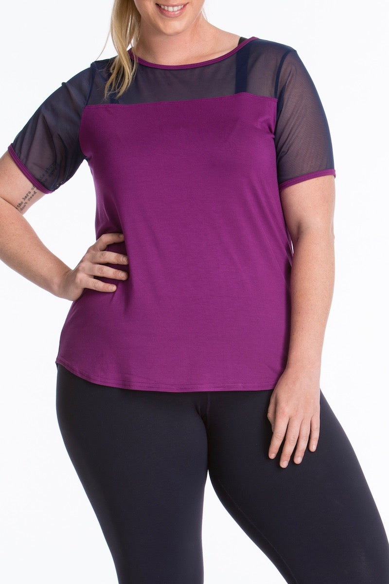 Lola getts short sleeves mesh trim tee plus size plum navy