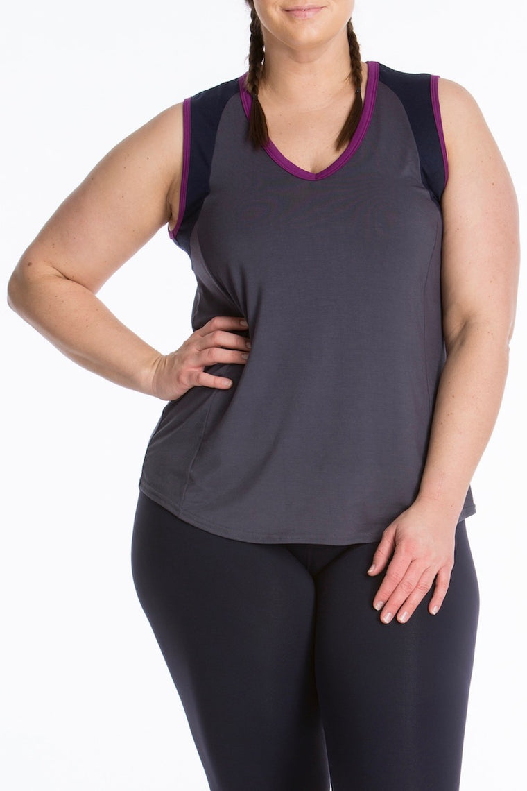Lola Getts Color Block Muscle Tee - Charcoal/Navy