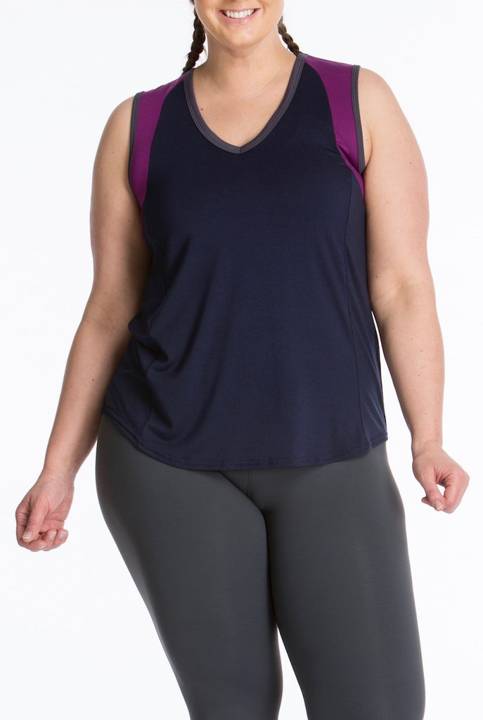 Lola Getts Color Block Muscle Tee navy plum plus size activewear CoverstoryNYC