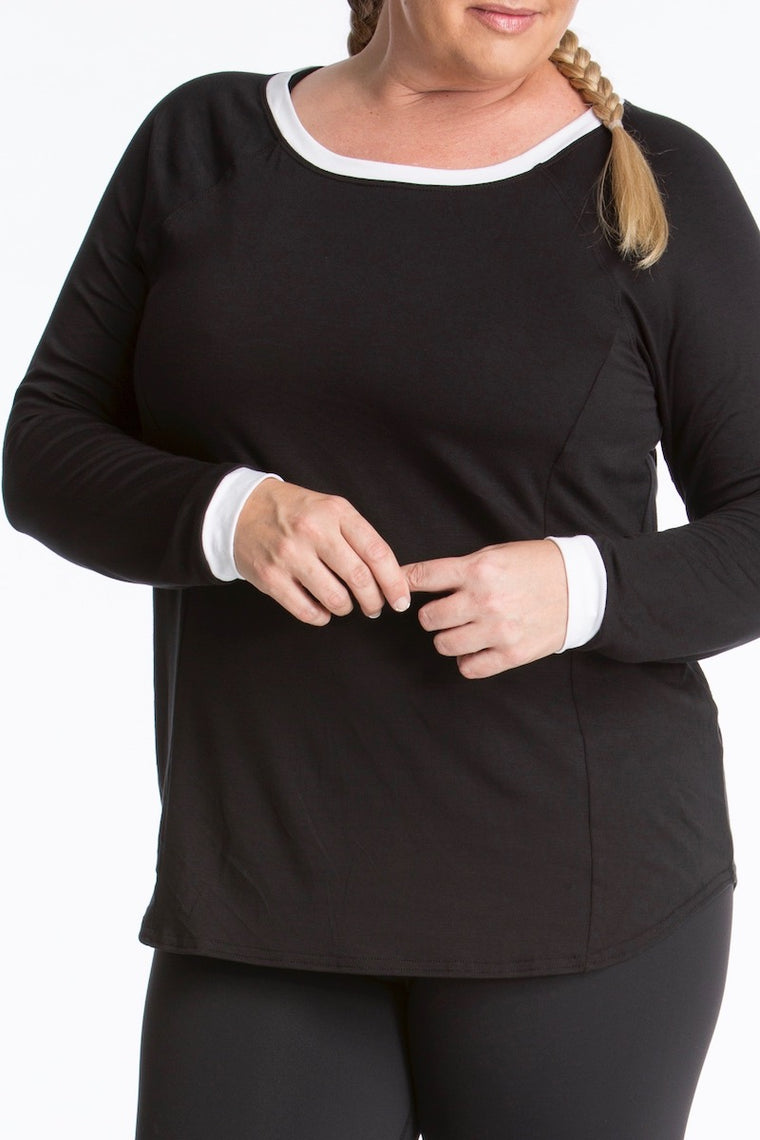 Lola Getts Long Sleeves Top- Black/White