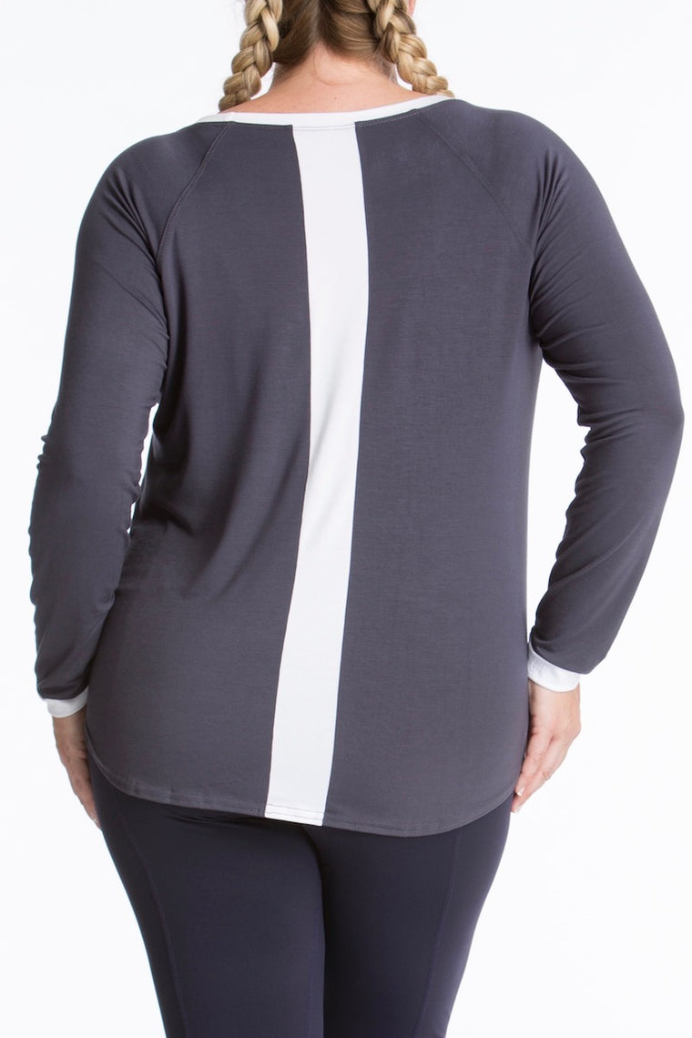 Lola Getts Long Sleeves Top- Charcoal/White