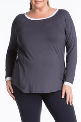Lola getts long sleeves top plus size activewear charcoal white coverstory