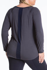 Lola getts long sleeves top plus size activewear charcoal navy coverstoryNYC