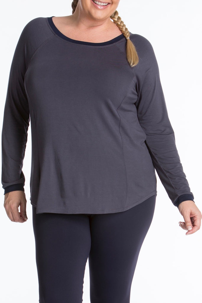 Lola getts long sleeves top plus size activewear charcoal navy