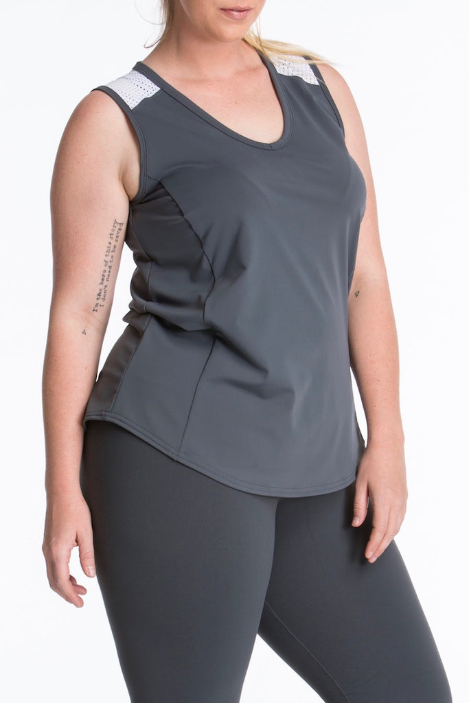Lola Getts Sport Sleeveless plus size charcoal white Coverstory