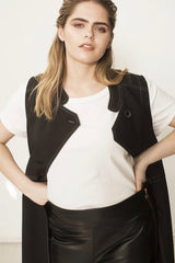 See rose go layering vest plus size black CoverstoryNYC