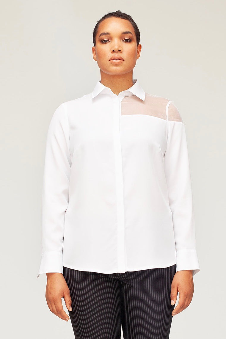 Van Der Nag Cut Out Blouse - White - FINAL SALE