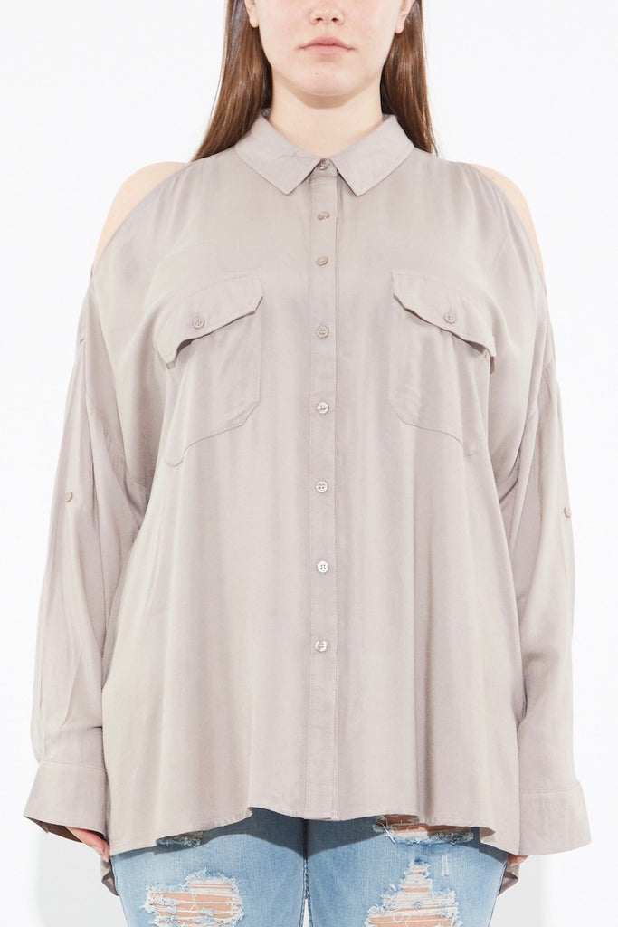Oak Norma shirt taupe plus size coverstorynyc