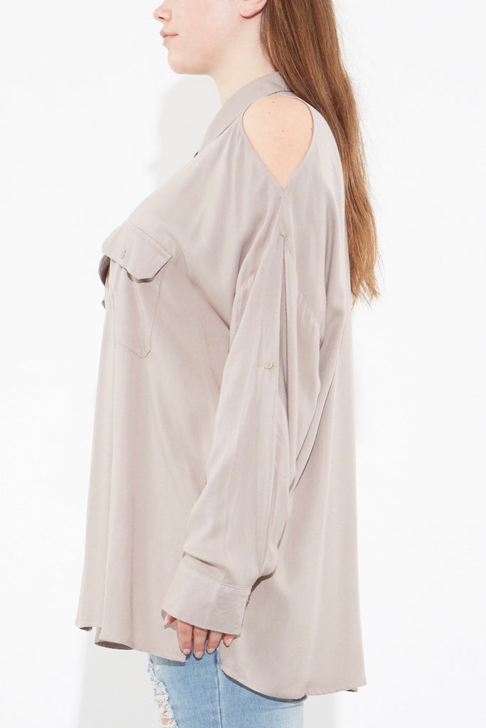 Oak Norma shirt taupe plus size coverstory
