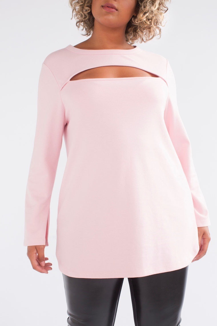 See Rose Go Peek-a-Boo Tunic - Rose