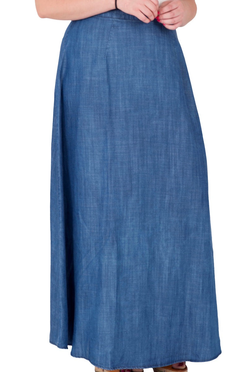 Standard & Practices Zalena Denim Maxi Skirt plus size coverstory