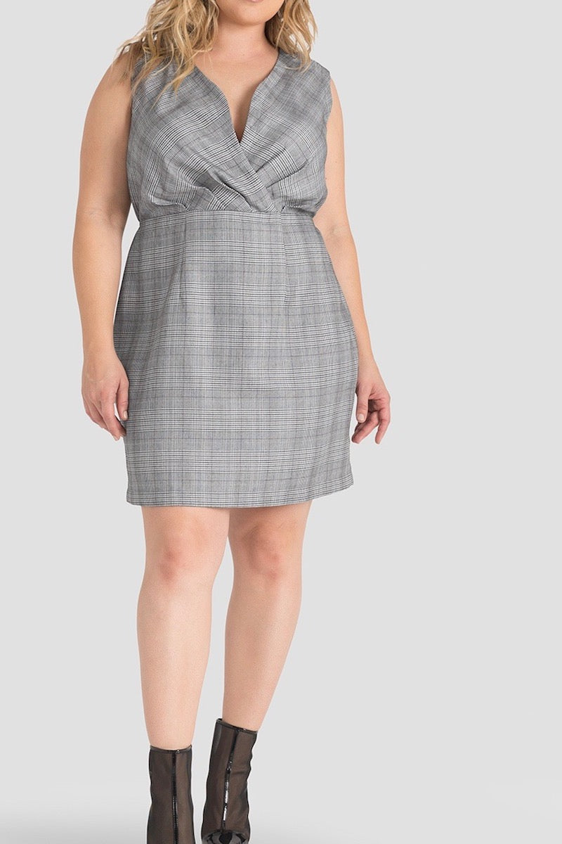 Standards & Practices Puffy Sheath Dress - Black & White Plaid