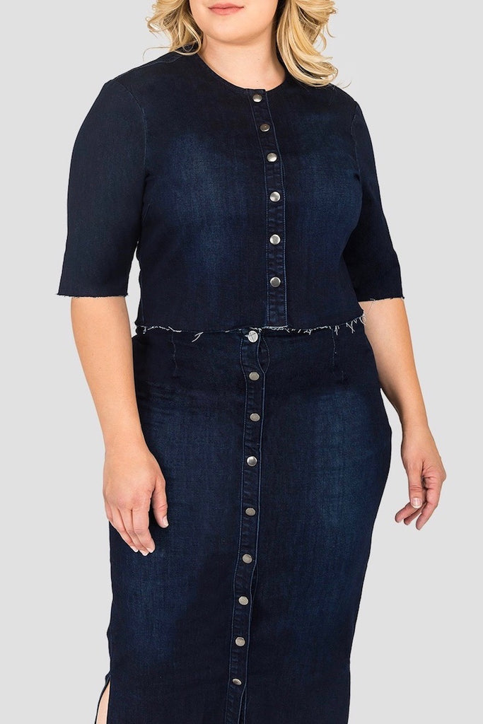 Standards & Practices plus size Elanse cropped denim jacket COVERSTORY