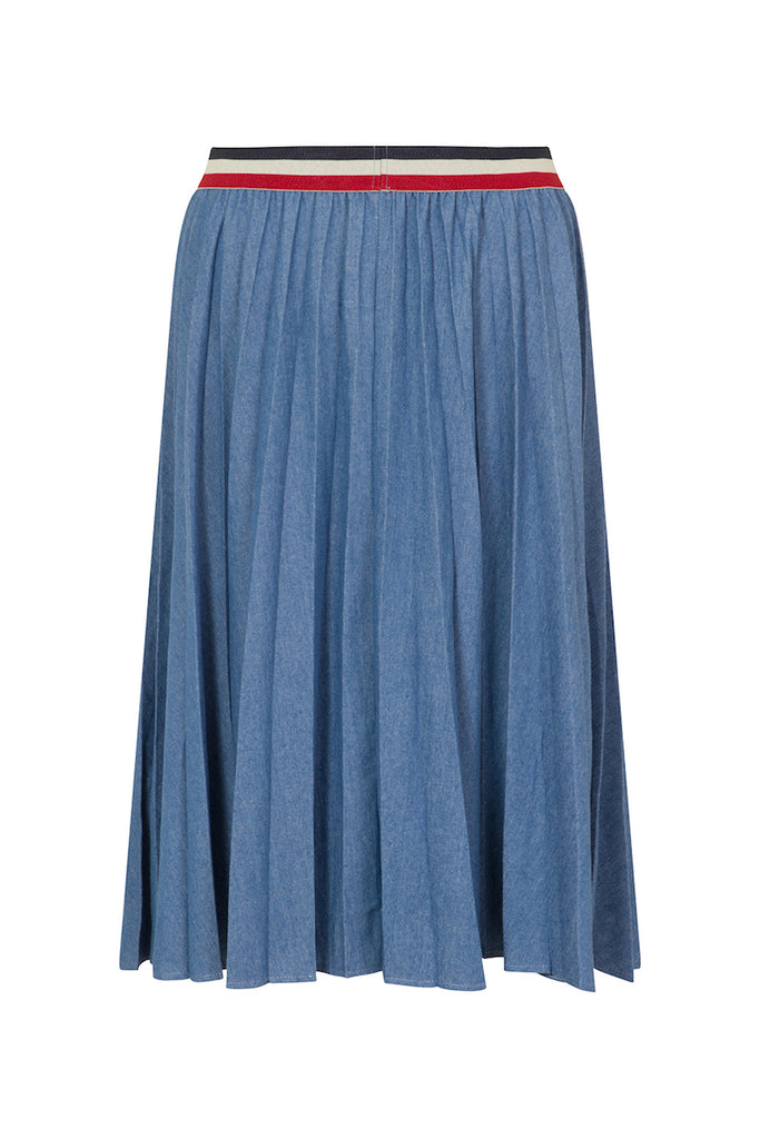 Elvi denim pleated skirt
