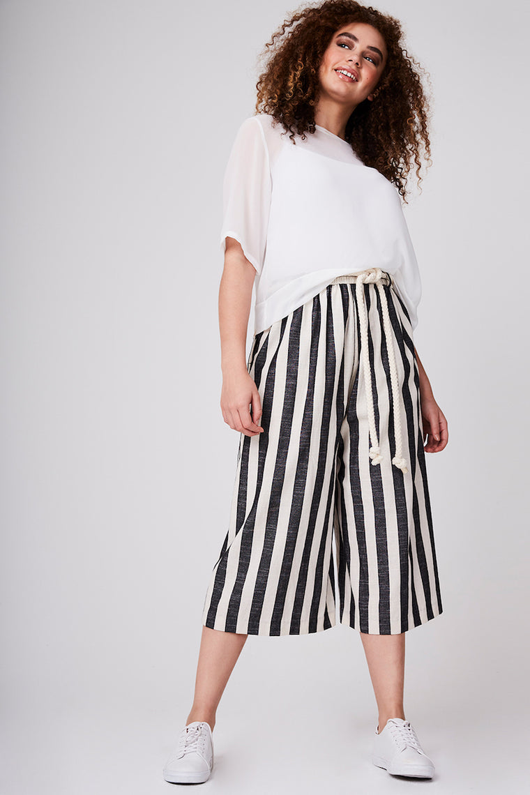 Elvi Cropped Striped Wide Leg Pants