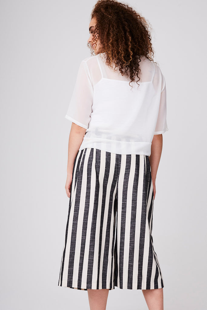 Elvi cropped striped wide leg pant plus size