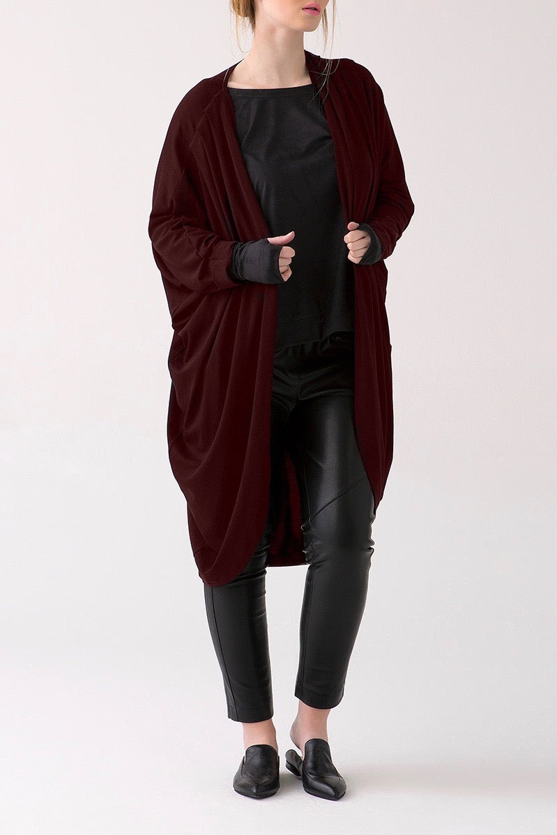 Shegul Mia cocoon cardigan bordeaux plus sizde CoverstoryNYC