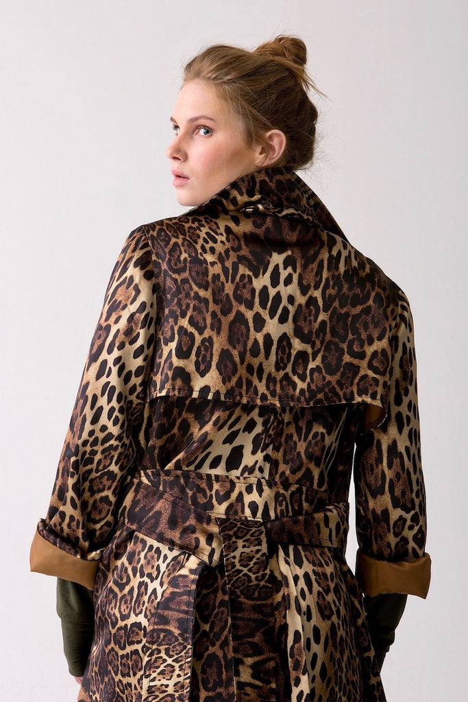 Shegul Leopard print trench coat plus size